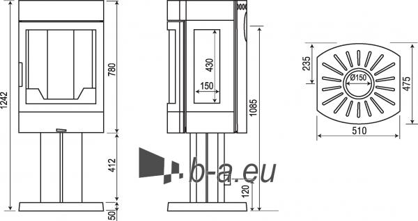 Židinys AMBRE, juoda ant kojos su vertikaliu oro padavimu iš lauko(PA/N+COM01+PKOA/V) Paveikslėlis 2 iš 2 310820236005