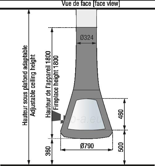 Židinys Bordelet Calista 917, centrinis, su dviem įsitiklintais fasadais Paveikslėlis 2 iš 3 310820235982