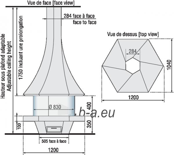 Židinys Bordelet Eolia 907, centrinis, su stiklu Paveikslėlis 2 iš 3 310820235981