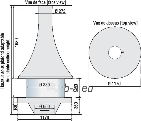 Židinys Bordelet EVA 992 centrinis, su stiklu, spalva NOIR METALLISE Paveikslėlis 2 iš 2 310820235986