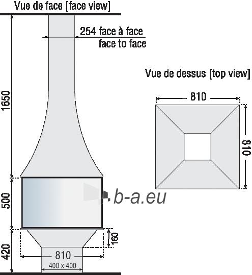 Židinys Bordelet Jullieta 985, centrinis, su stiklu, apačioje pagrindas, Z06C Paveikslėlis 2 iš 3 310820235989