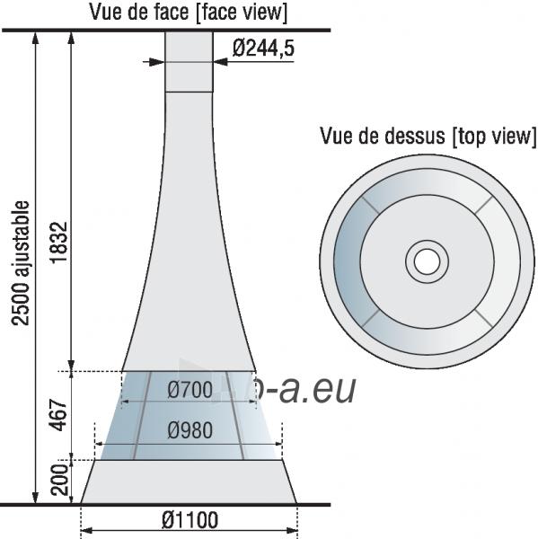 Židinys Bordelet Linea 914, centrinis, su stiklu Paveikslėlis 2 iš 2 310820235975